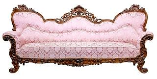 Большой резной диван. 19-й век. 257/87/120 см. 8000 евро.