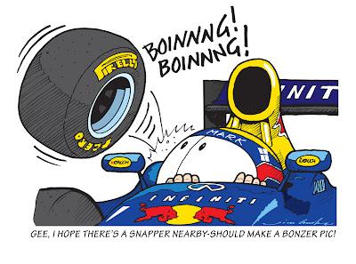 Марк Уэббер и летящее колесо Red Bull на Гран-при Германии 2013 - комикс Jim Bamber