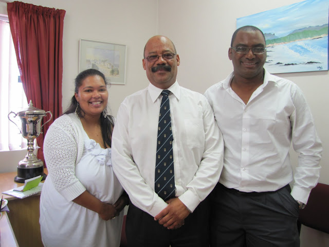 Ms Anthea Jacobs(Left), project co-ordinator and Mr Spurgeon-Haddon Wilson(Right), project manager, of Rachel's Angels with Mr Tommy Wilson(Centre), principal of Gansbaai Academia