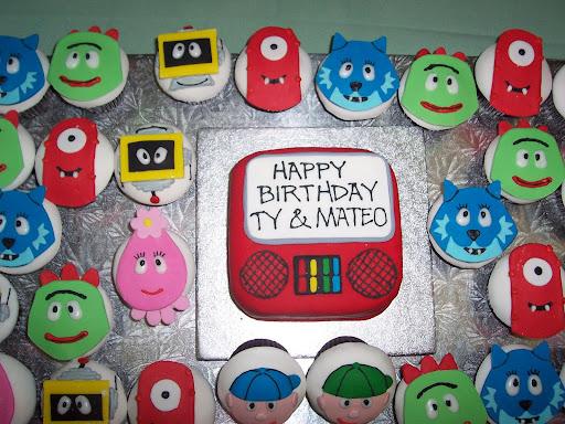"""YO GABBA GABBA CHARACTERS"" TYRELL & MATEO'S BIRTHDAY CAKE SEPTEMBER 21, 2008 CELEBRATING TY'S 4th BDAY (OCT. 11) & MATEO'S 2nd BDAY (SEPT. 19)"