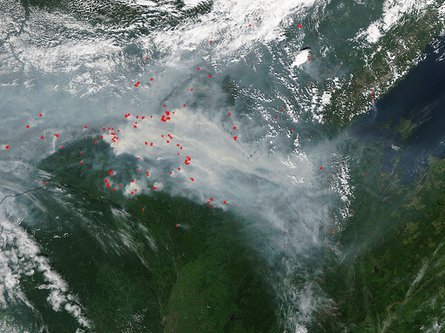 Terra/MODIS satellite view of smoke and forest fires in eastern Russia, 16 July 2015. Photo: NASA / LANCE Rapid Response MODIS