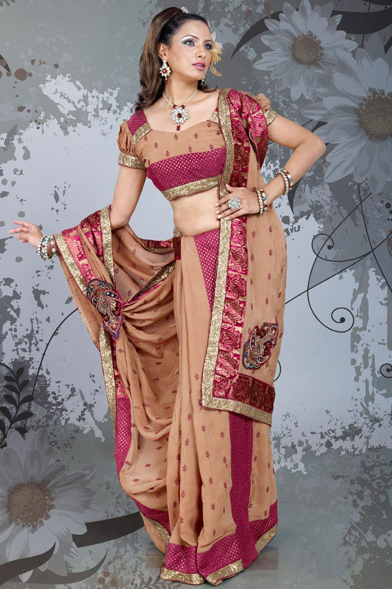 Pale Taupe Gray Wedding and Festival Georgette Embroidered Saree   84.00