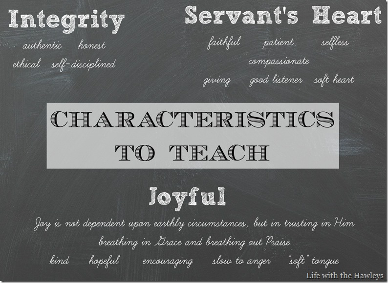 Characteristics to Teach