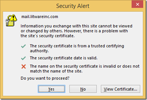 Technical Deep Dive: Outlook - The name on the security certificate ...