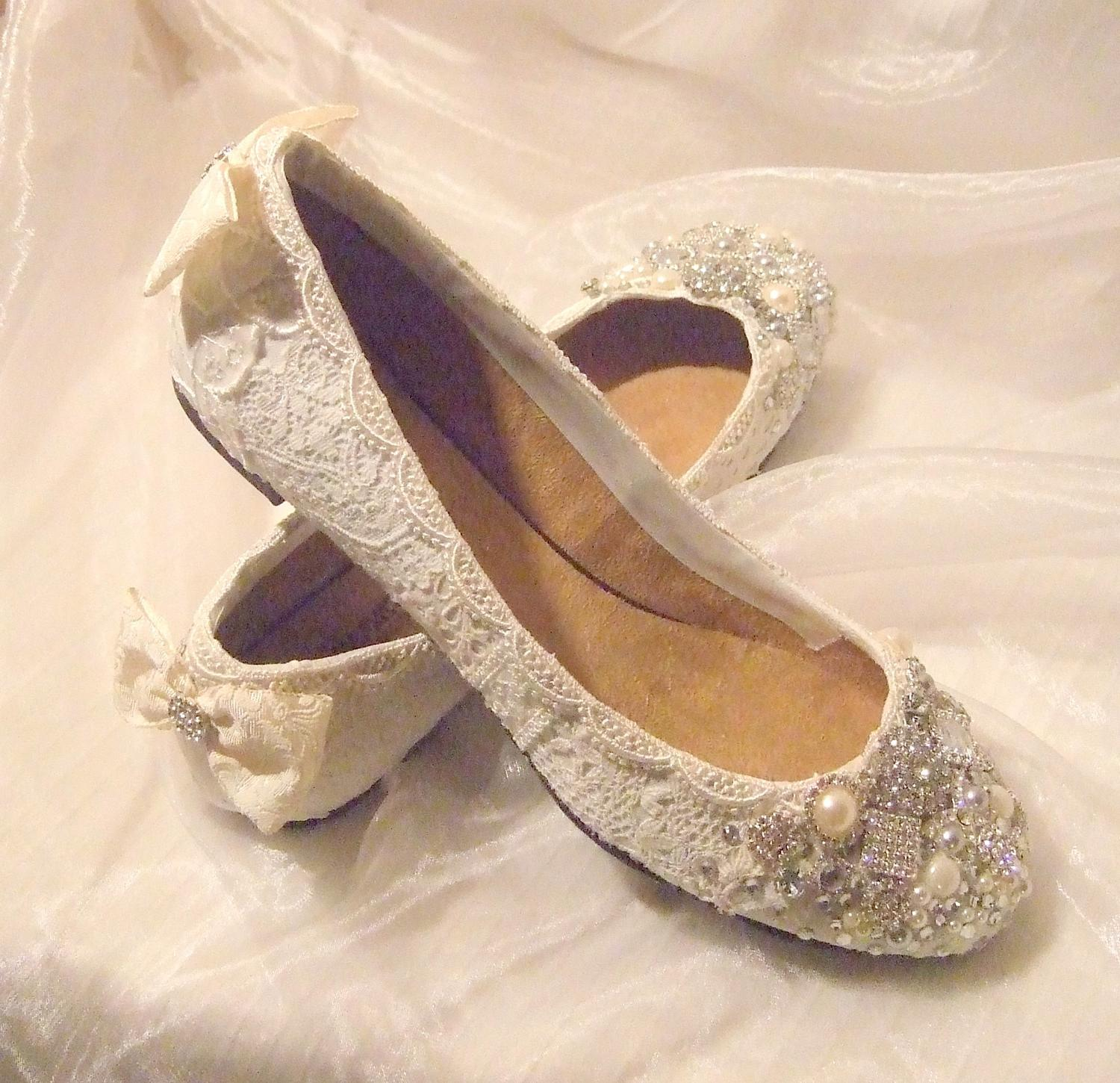Flat wedding shoes.