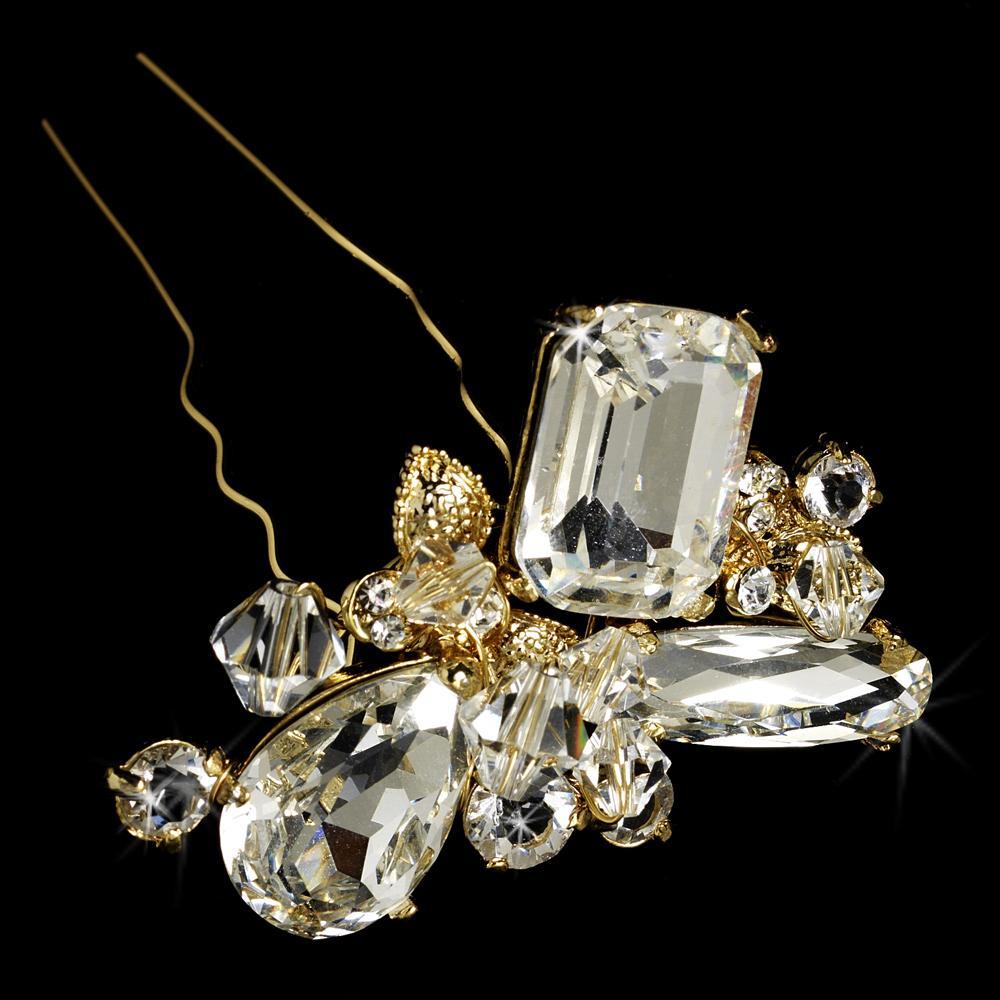 Swarovski Gold Bridal Hair Pin