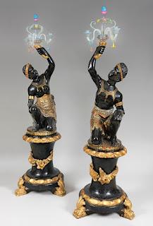 """Пара светильников """"НЕГРИТЯТА"""". 19-й век. Дерево, резьба, позолота, венецианское стекло. 20000 евро"""