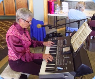 Jeanette Harding brought her Korg Pa3X all the way from New Plymouth just to play for Community Music Day at Knightsbridge Village.