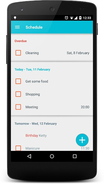 Daily planner screenshots