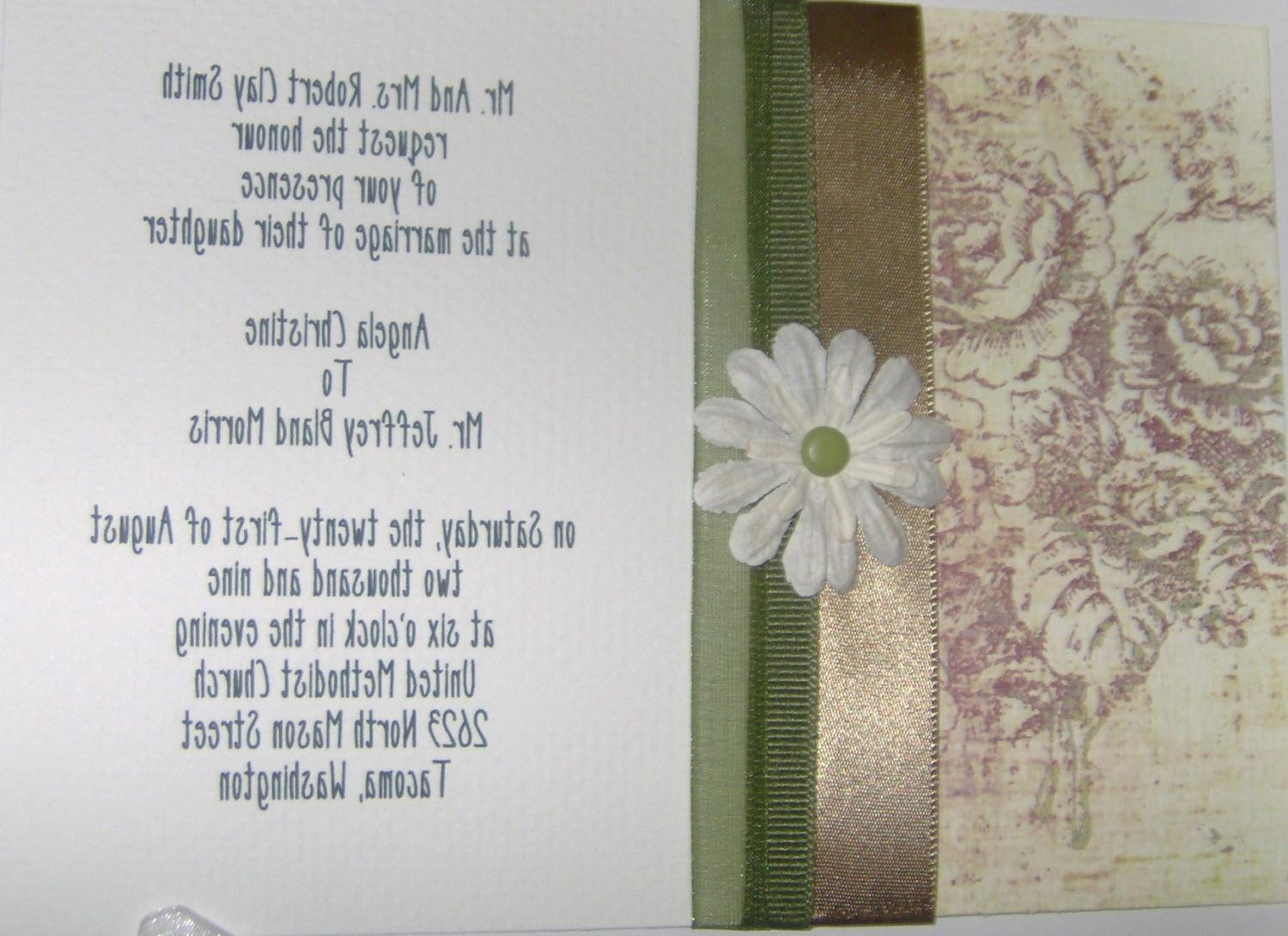 5 x 7 Custom Wedding Invitation With Decorative Paper, Ribbons,