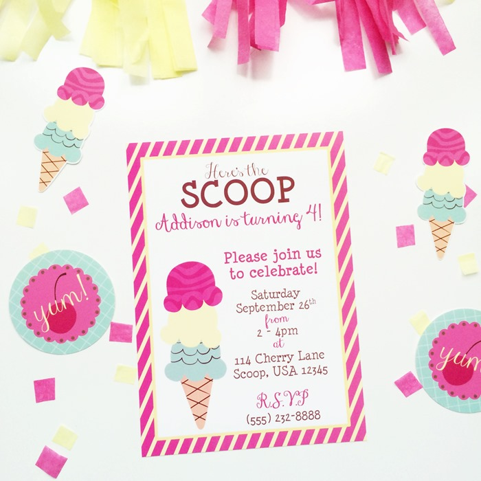 Here's the Scoop Printable Invitation