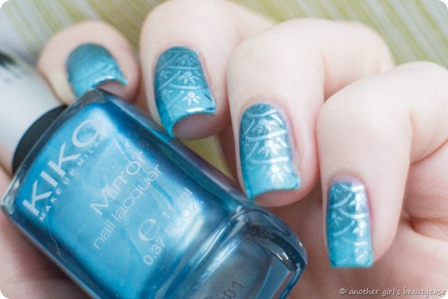 Clairestelle8Sept Nailart Challenge Mermaid Stamping Gradient Blue Scales-2