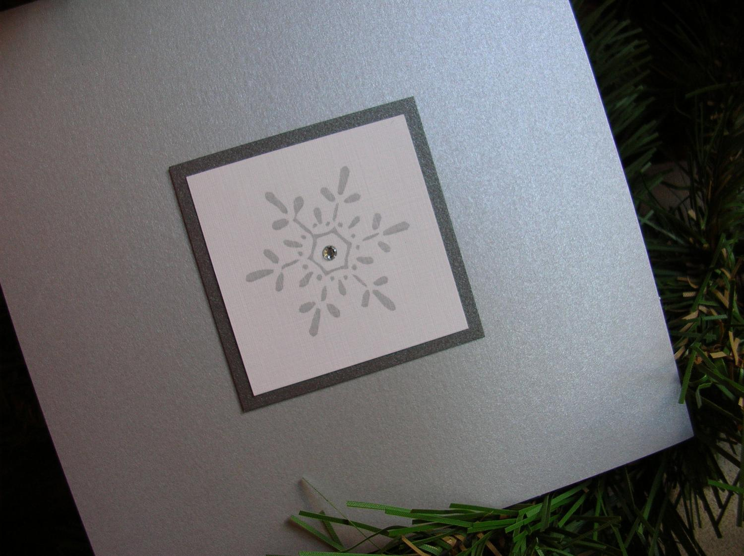 Snowflake Winter Pocket Wedding Invitation - Slate   Charcoal,