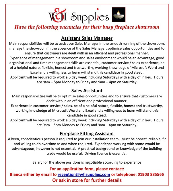 Advert for fireplace fitter assistant manager and sales assistant for showroom