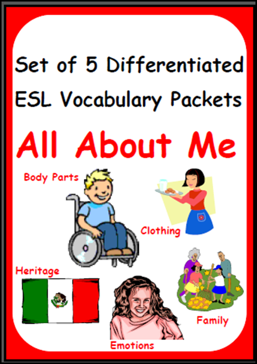 English Language Learners need differentiated vocabulary instruction. Build this into your daily routine with my Differentiated English Language Learner Vocabulary Packets. Resources from Raki's Rad Resources - All About Me Set