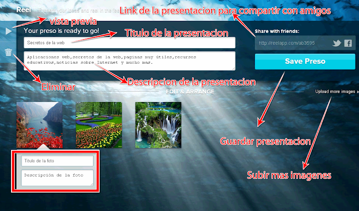 Presentación en linea