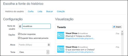 Crie widgets para o seu blog e mostre tudo o que rola no Twitter - Visual Dicas