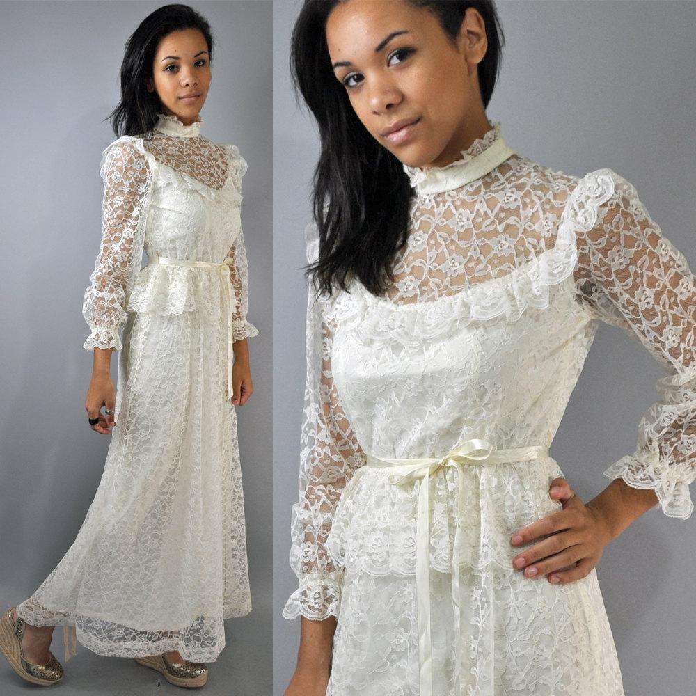 70s sheer cream lace VICTORIAN