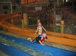 Logan Vojtko and Hannah going down a water slide at Kalahari in OH 02182012b