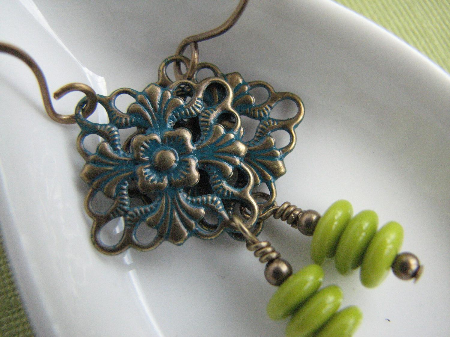 Turquoise green dangle earrings teal blue lime green. From WaterlilyStudio