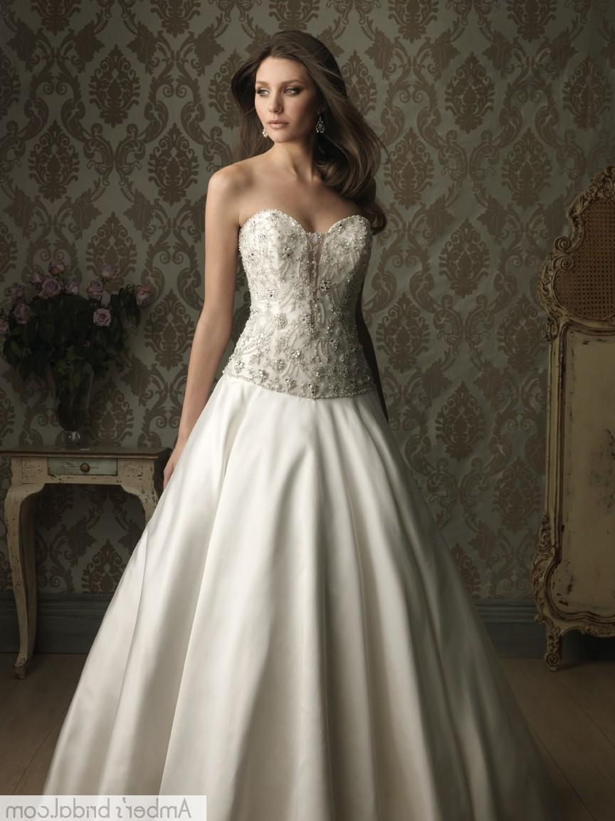 Ball Gown Sweetheart Chapel Train Satin Wedding Dress with Pleating