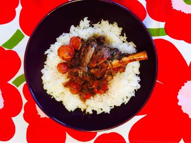 Slow roast lamb shanks with port and rice