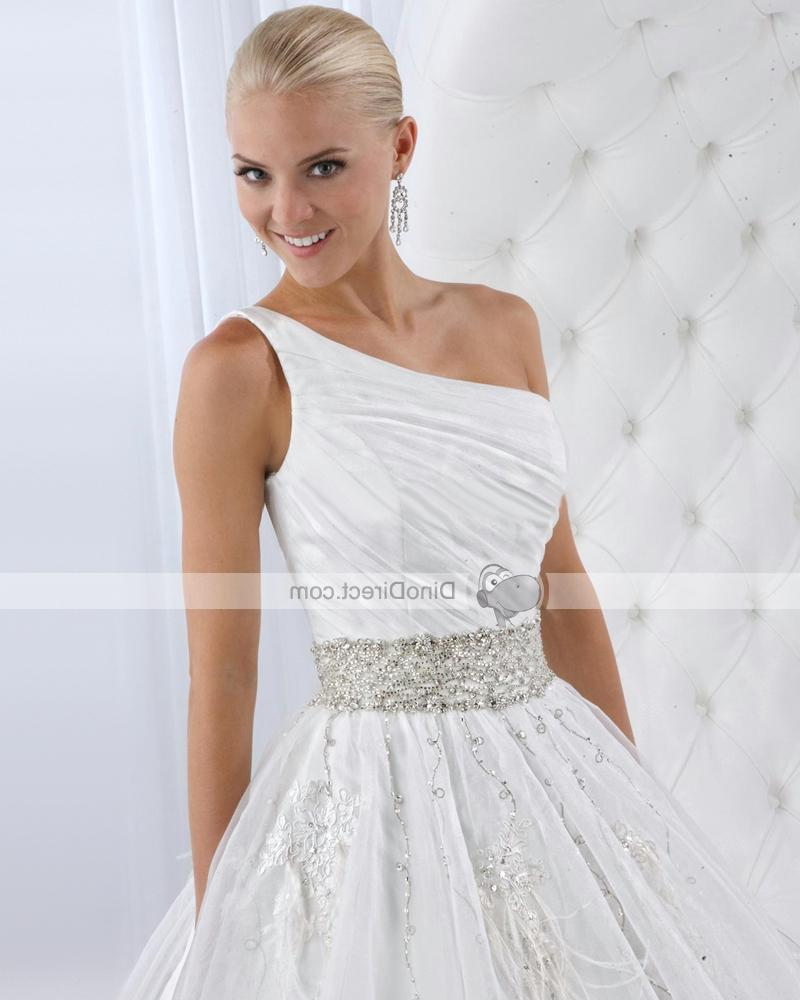 One shoulder neckline makes this bridal ball gown wedding dress show your