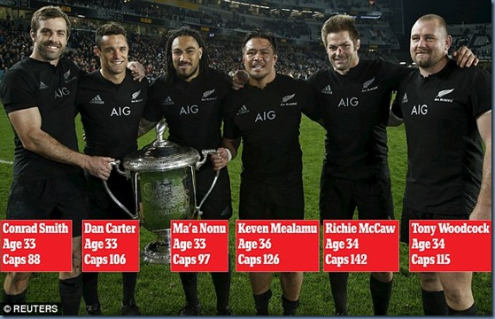 NZ Rugby World Cup with the 6 retiring players