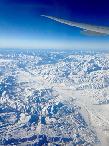 View of snowy mountains in East Turkey from an airplane window, on the flight home from Hong Kong to the UK