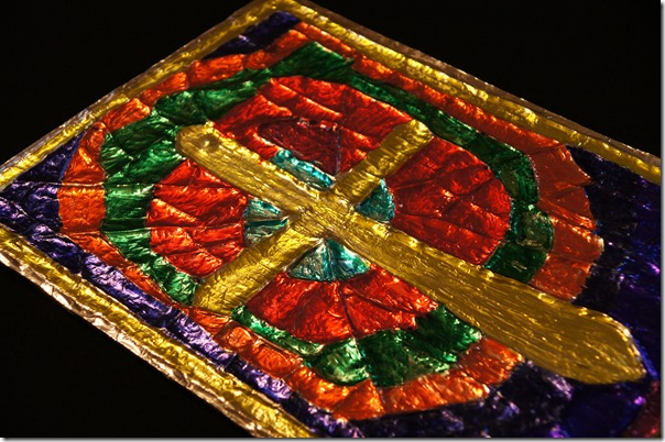 Cross stained glass window craft for kids great for easter or medieval art