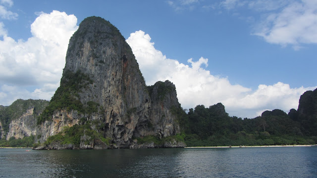 Limestone rock formations approaching Railay, Krabi.