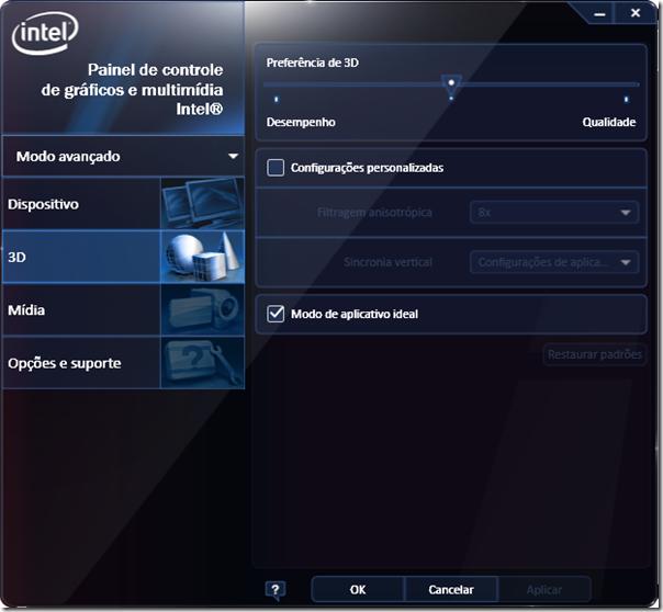 Painel de Controle de gráficos e multimídia Intel