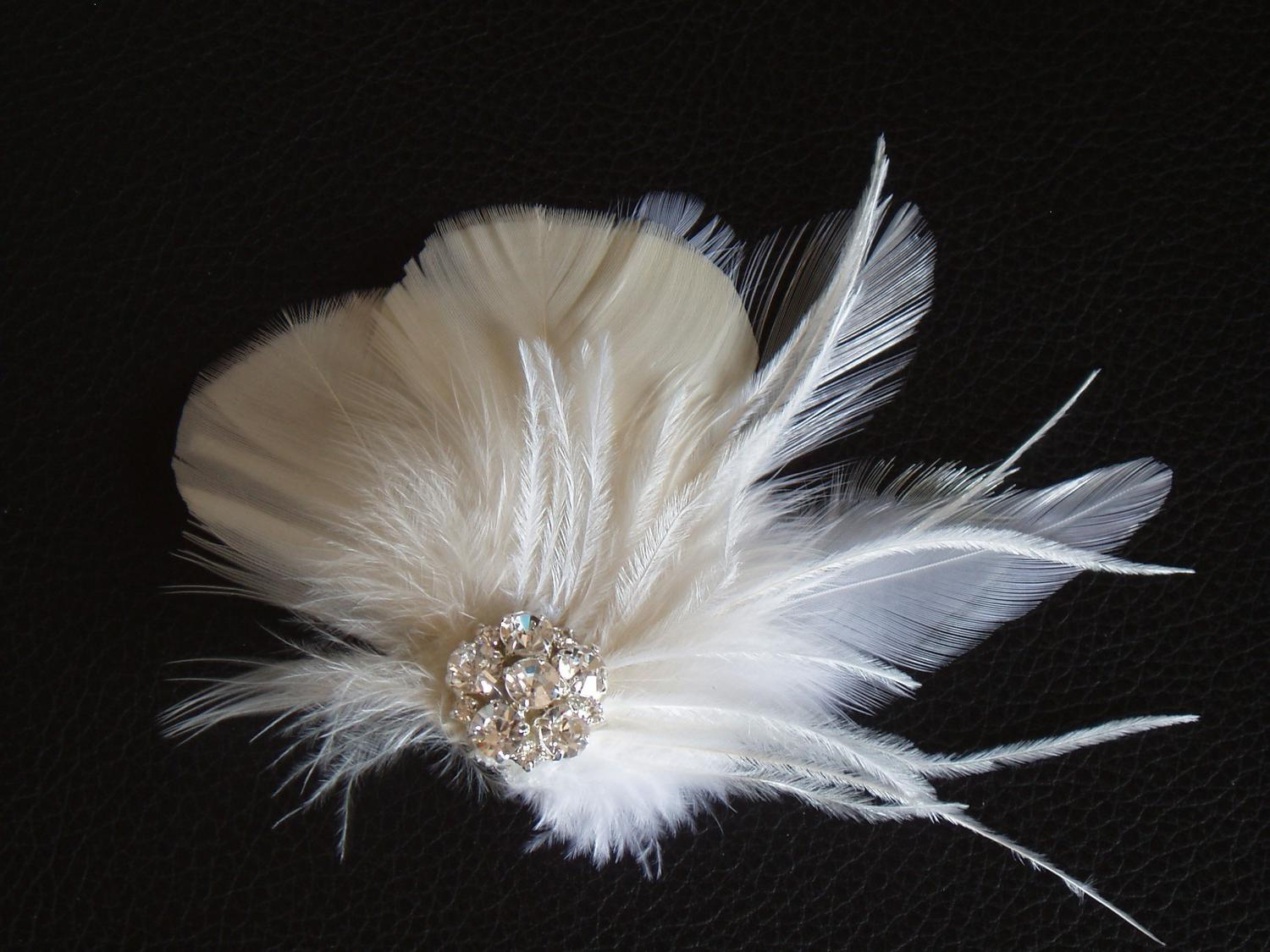Splendor - Ivory and White Feather Fascinator with Rhinestone Jewel - Bridal
