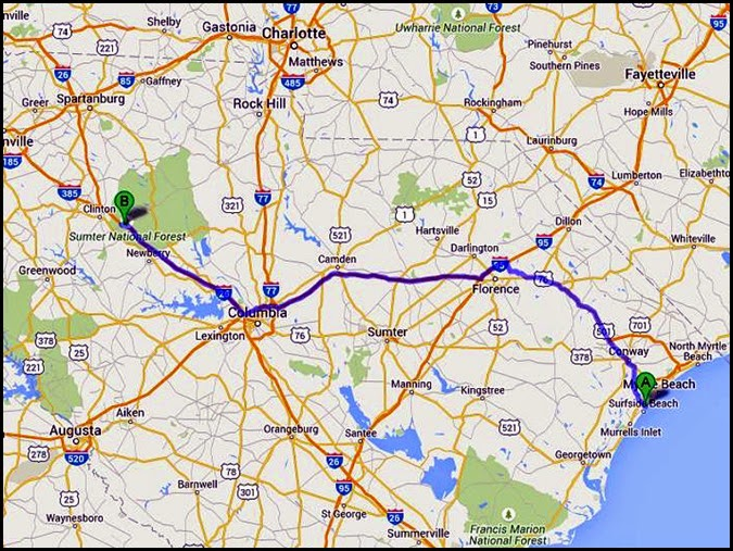 00 - Travel Map to Magnolia CG, Kinards, SC