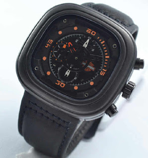 jam tangan Harley davidson chrono black leather oren