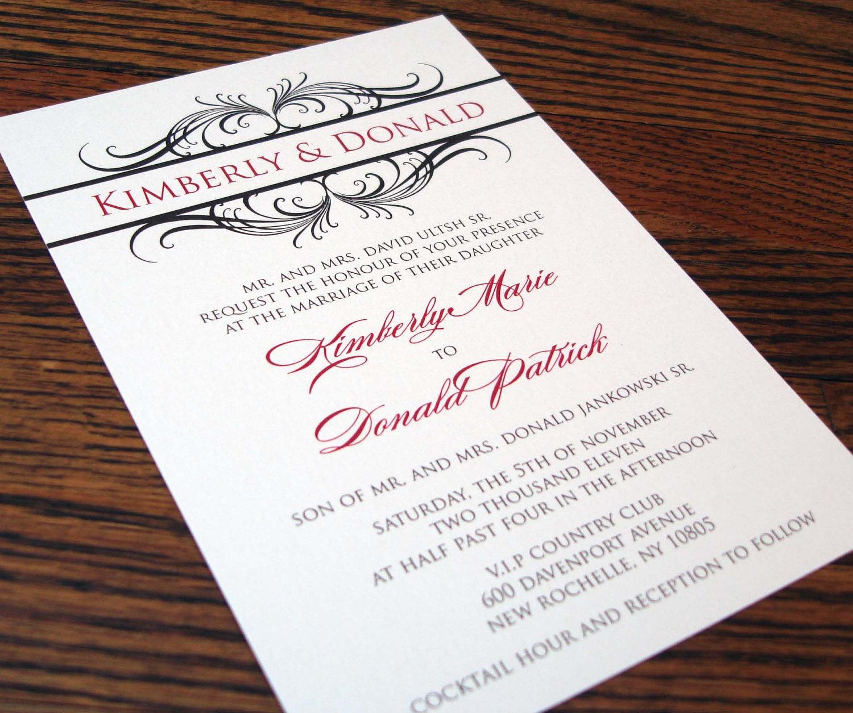 purple swirl wedding invite
