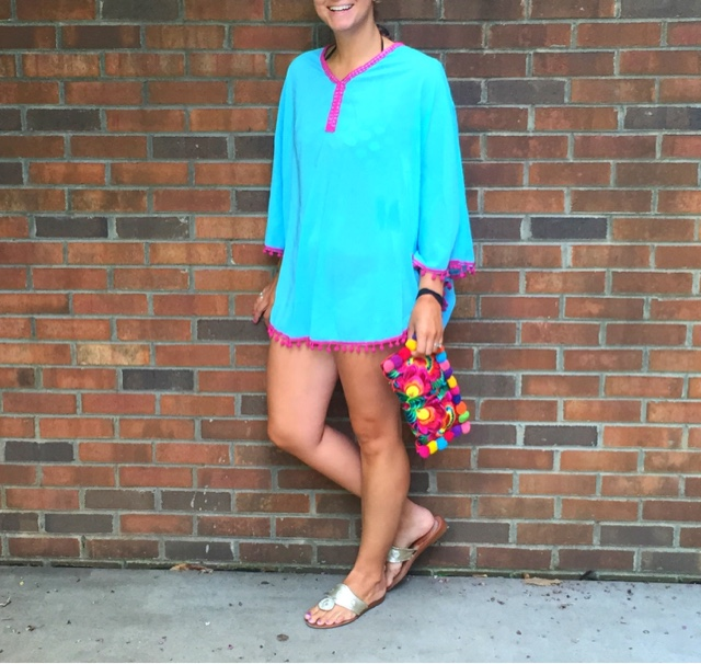 pom pom cover up, swimsuit cover up, summer style, jack rogers, boho chic, pom poms