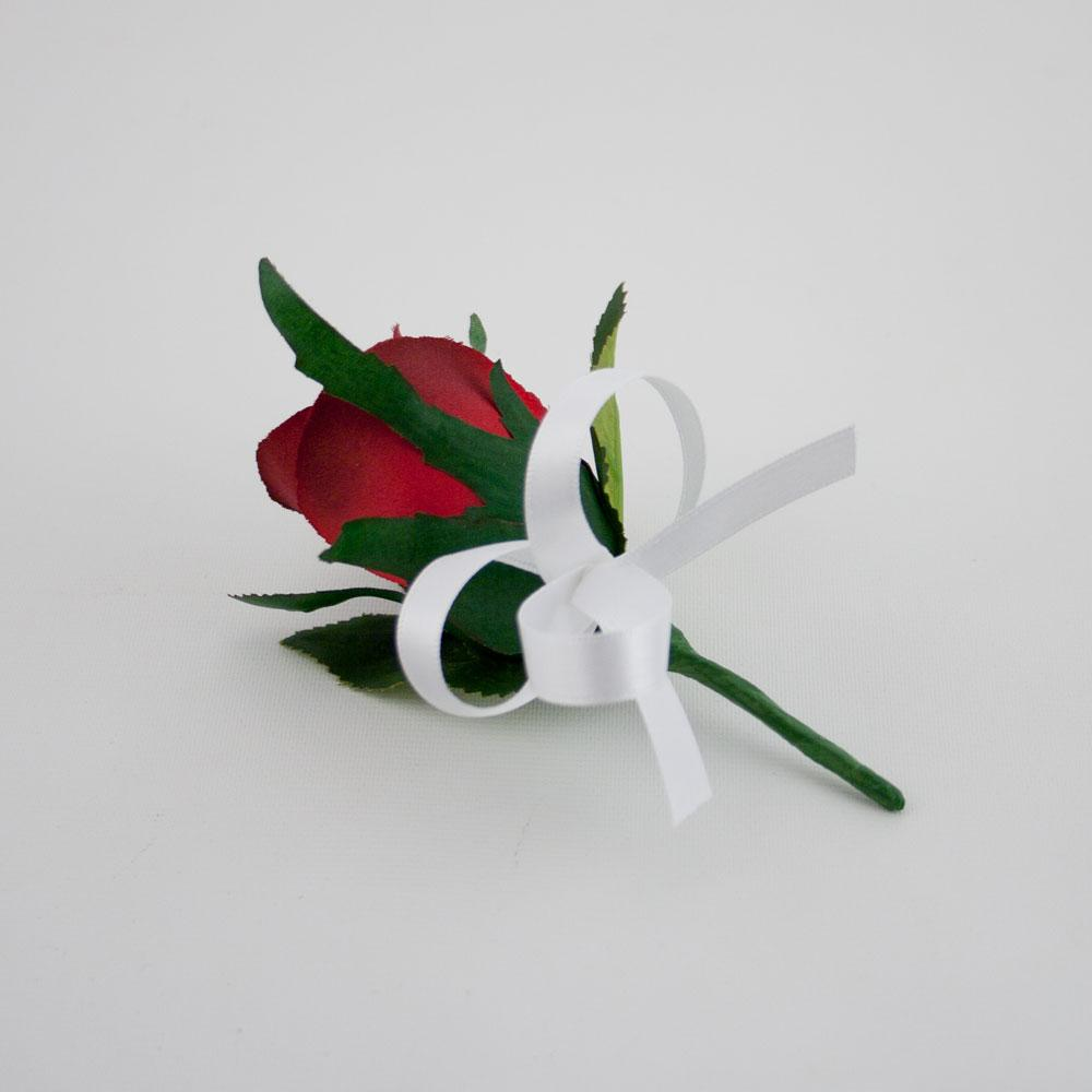 This deluxe buttonhole is composed of a red-burgundy rose with a white satin