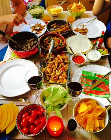 Mexican fiesta with beef and black beans and chicken fajitas