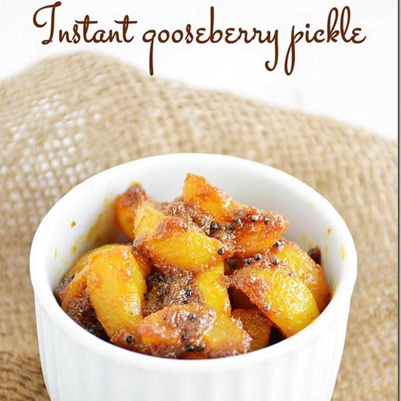 Instant gooseberry pickle / Amla pickle / Nellikai oorugai
