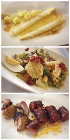 Espárragos, menestra de verduras, chorizo y careta de cerdo