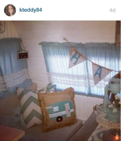 Burlap and lace vintage camper pillow