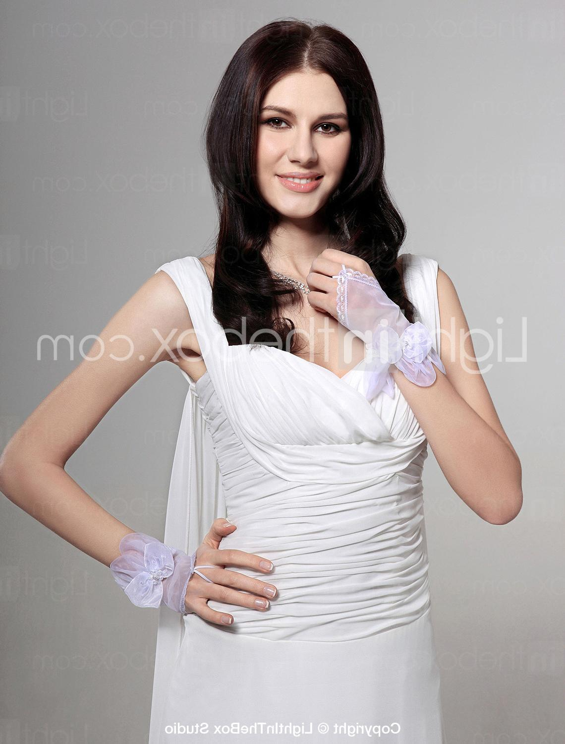 Lace  Voile Fingerless Wrist Length Bridal Gloves - US  8.59