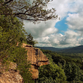 Yellow Rock overlook by Jessica Rowley - Landscapes Mountains & Hills ( forest, mountains, mountainscape, arkansas, overlook, yellow rock overlook, ozarks, west fork, trees, devils den, rock, national forest, landscape )