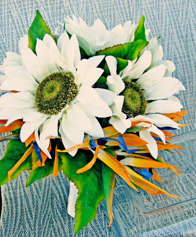 White Sunflowers Birds of
