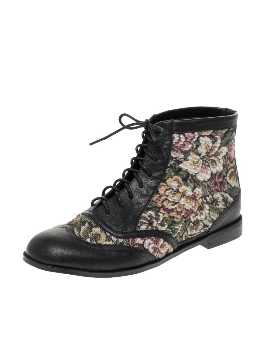 Asos Floral Lace Up Boot -   45