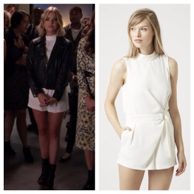 PLL Pretty Little Liars Hannah in Topshop White High Neck D Ring Wrap Romper and Leather Jacket