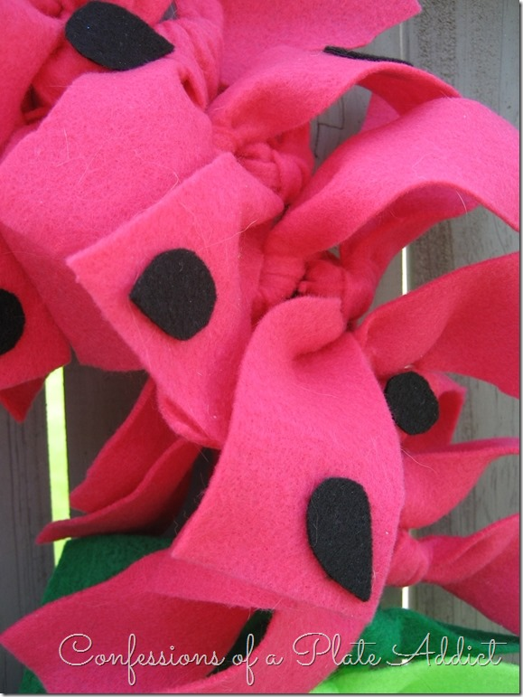 CONFESSIONS OF A PLATE ADDICT No-Sew Watermelon Wreath...Just Tie It!
