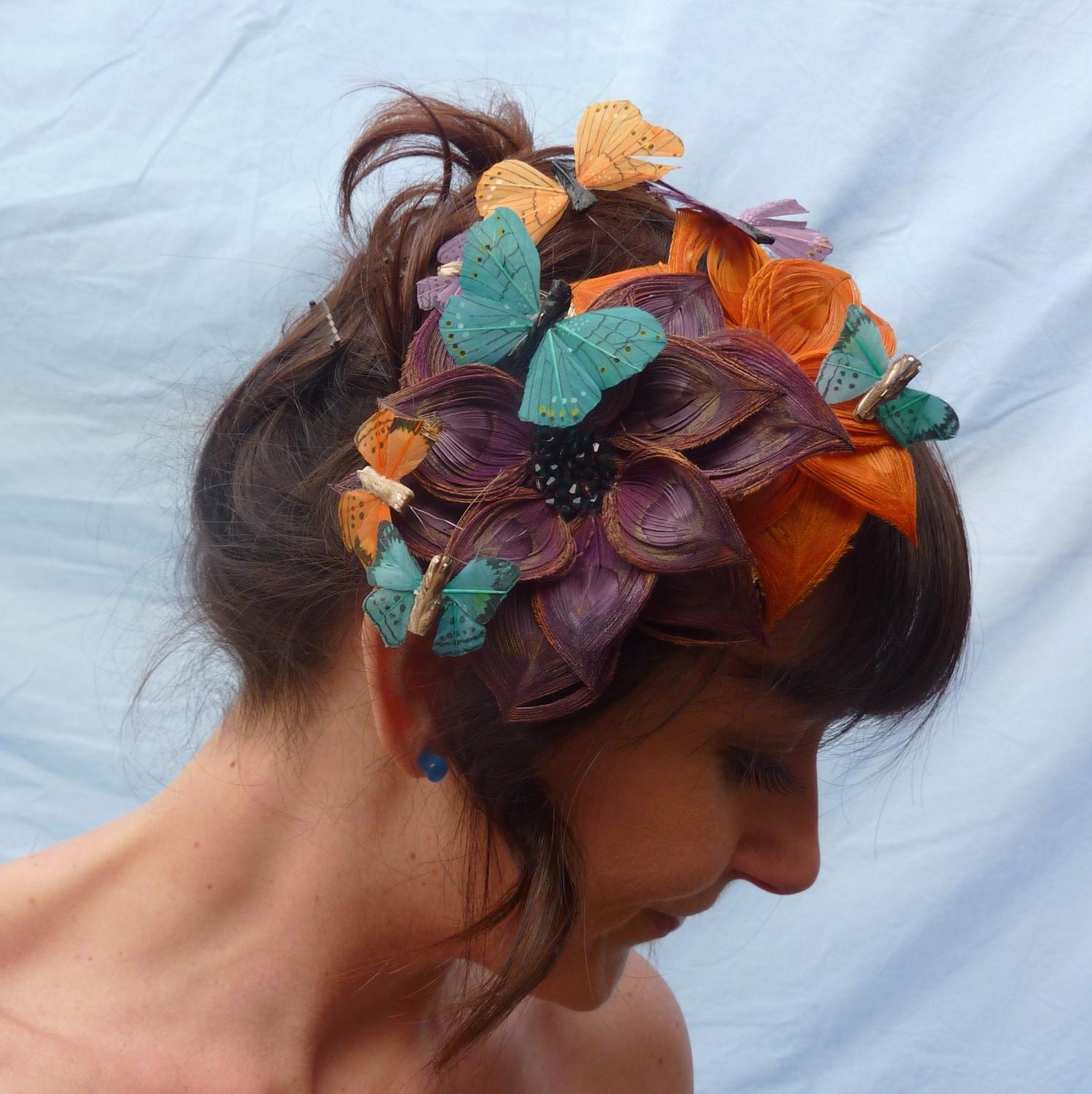Butterfly Effect - Peacock Feather Flower Fascinator