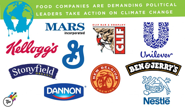 Food companies are demanding that political leaders take action on global warming. Graphic: Dylan Petrohilos / ThinkProgress